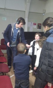 Pete Ross interviewing the kids